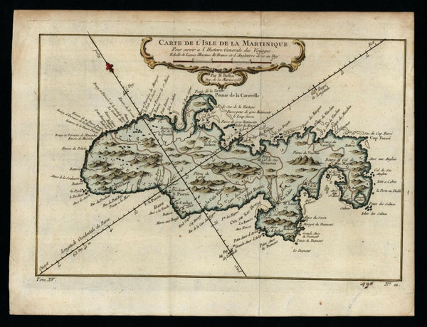 Martinique Caribbean 1758 Bellin island decorative map lovely hand color