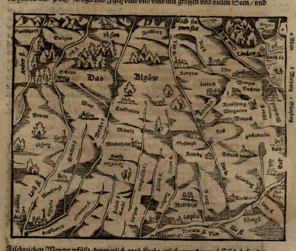 Bavaria & Baden Regions Germany 1598 Munster Cosmography wood cut map