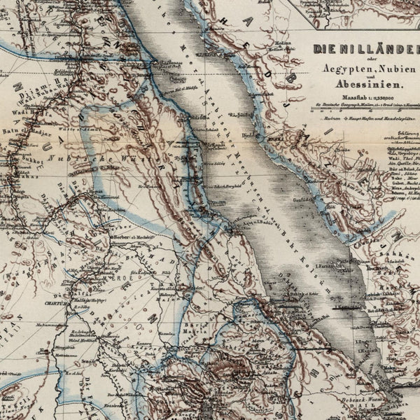 Arabia coast Red Sea Abyssinia Nubia Egypt source Nile 1861 Meyer small old map