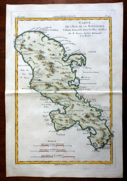 Martinique French Colonial Possession West Indies 1780 Bonne engraved map