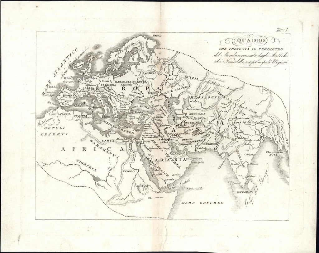 Ancient Known World Ethiopia Ganges River Mount Atlas c.1820-30 rare engraved ma