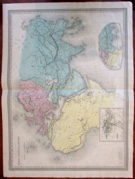 Ancient World Ptoley Africa Mts. Moon c.1845-55 huge Dufour Dyonnet engraved map