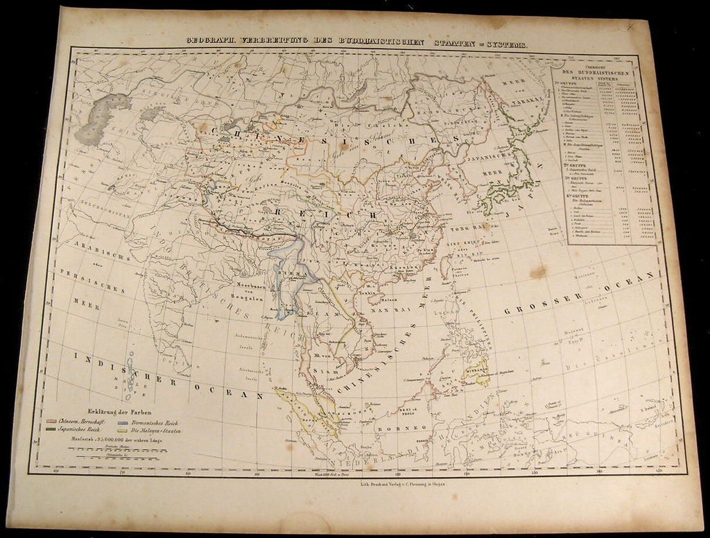 Spread of Buddhist States in Asia China Japan 1849 Flemming old antique map
