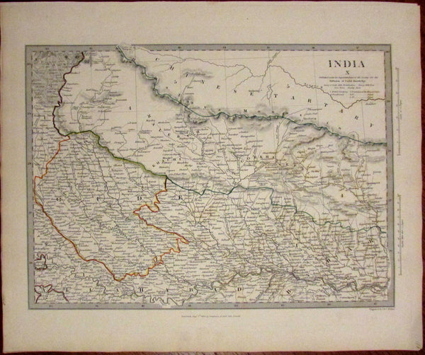 Northern India Himalaya Mountains Gorkha c.1834 SDUK detailed Walker map