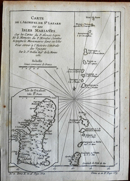 Mariana Islands Guam Saipan Tinian Rota Spanish East Indies 1760 Bellin map