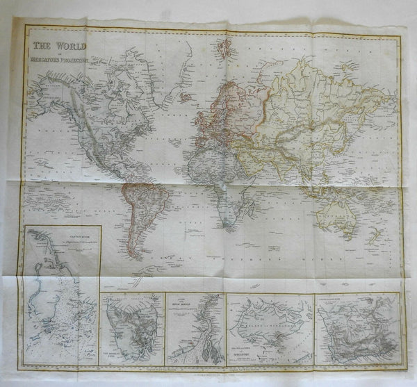 World 1844 large Copley Harper map w/ insets Singapore Tasmania Canton Colony