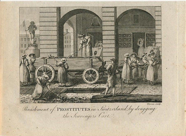 Punishment of prostitutes in Switzerland nice c. 1780 old vintage engraved print