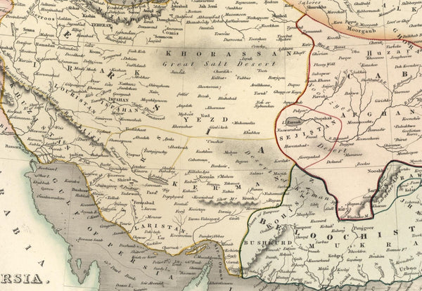 Persia Iran Cabul Beloochistan Afghanistan Tartary Asia c.1831 scarce Dower map
