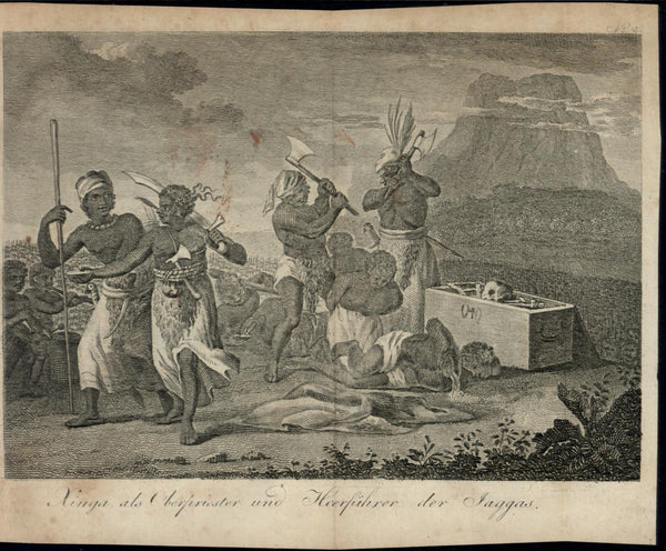 Tribal Africa Decapitation Severed Heads Axes Brutality rare 1802 antique print