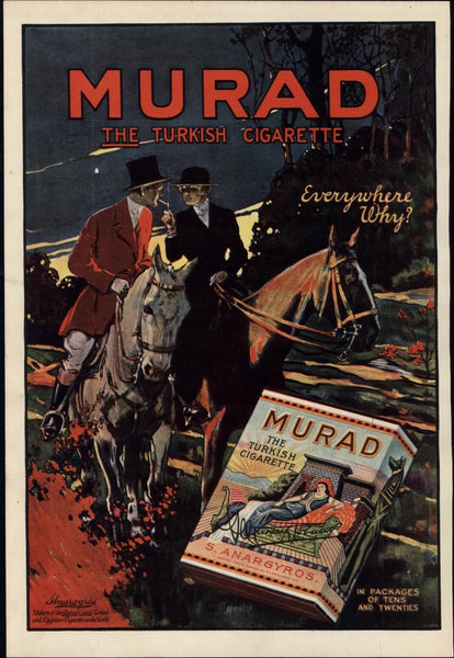 Murad Cigarettes horseback riding 1917 vintage WWI-era color Advertisement