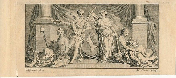King William's muses Goddesses nudes fine 18th Century antique print