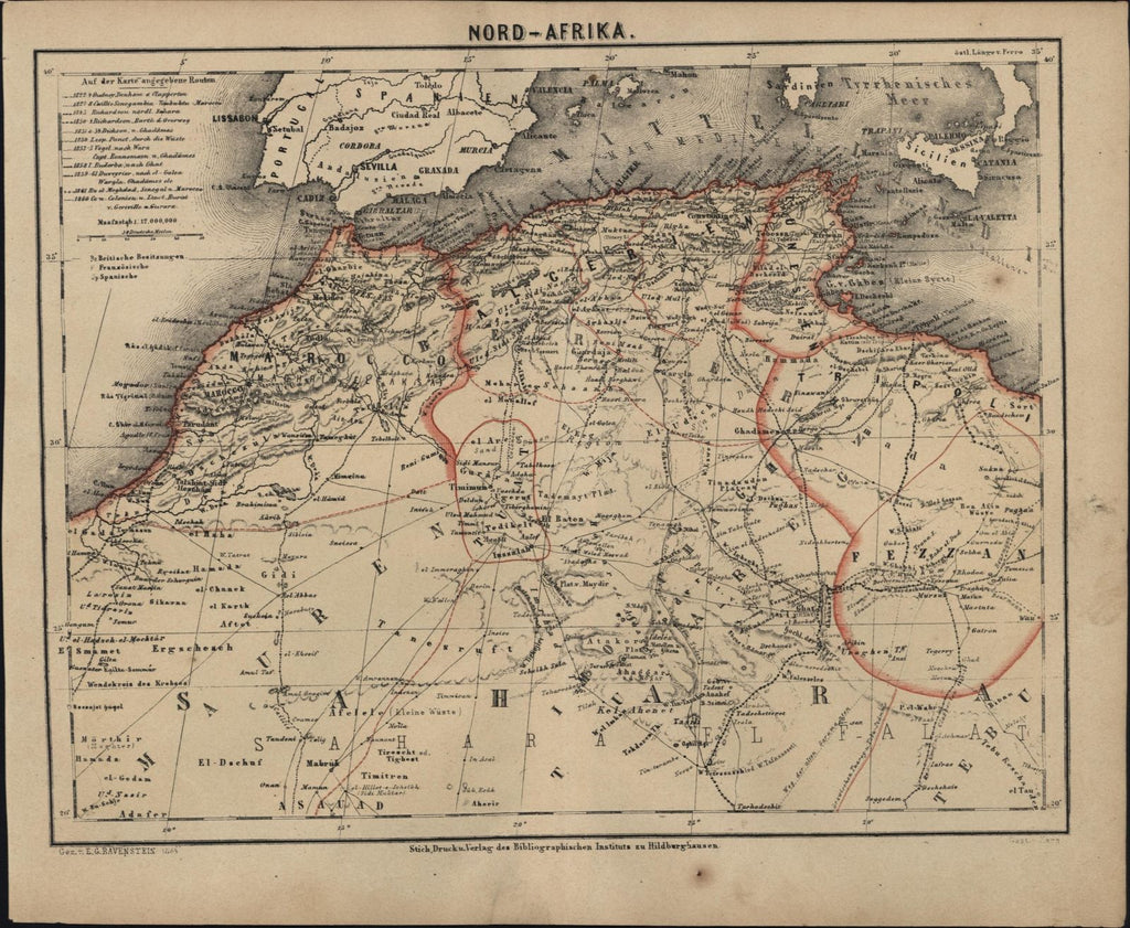 North Africa shows explorer's routes c.1867 Ravenstein very detailed German map