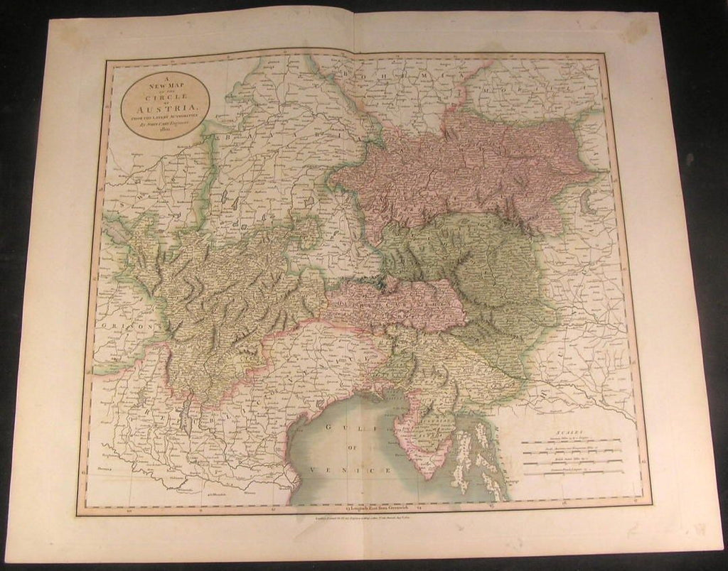 Circle of Austria Venice Tyrol Austria Stiria 1801 Cary folio lovely antique map