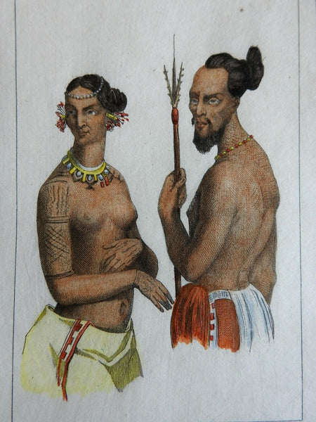 Labeleloa Chief of Koutoussoff Polynesia Tattoos 1837 scarce French ethnic view