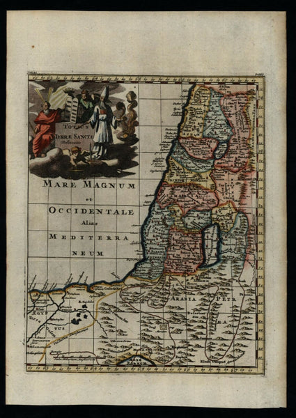 Holy Land Jerusalem 1711 Senex decorative map lovely hand color