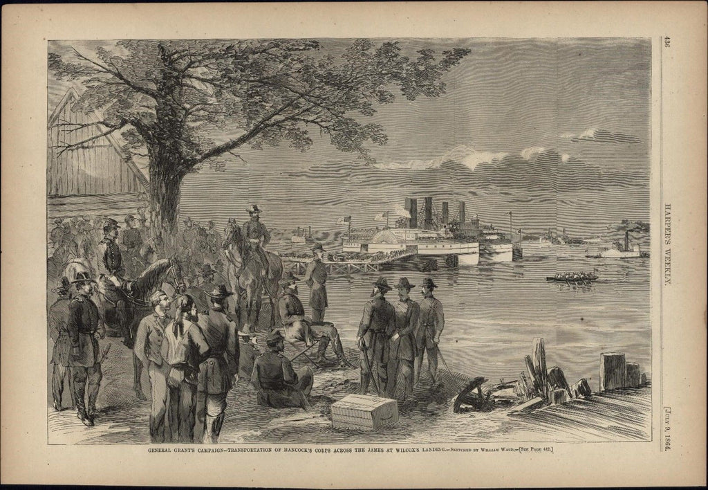 Transportation Across James river Wilcox's Landing 1864 antique Harpers Civil Wa