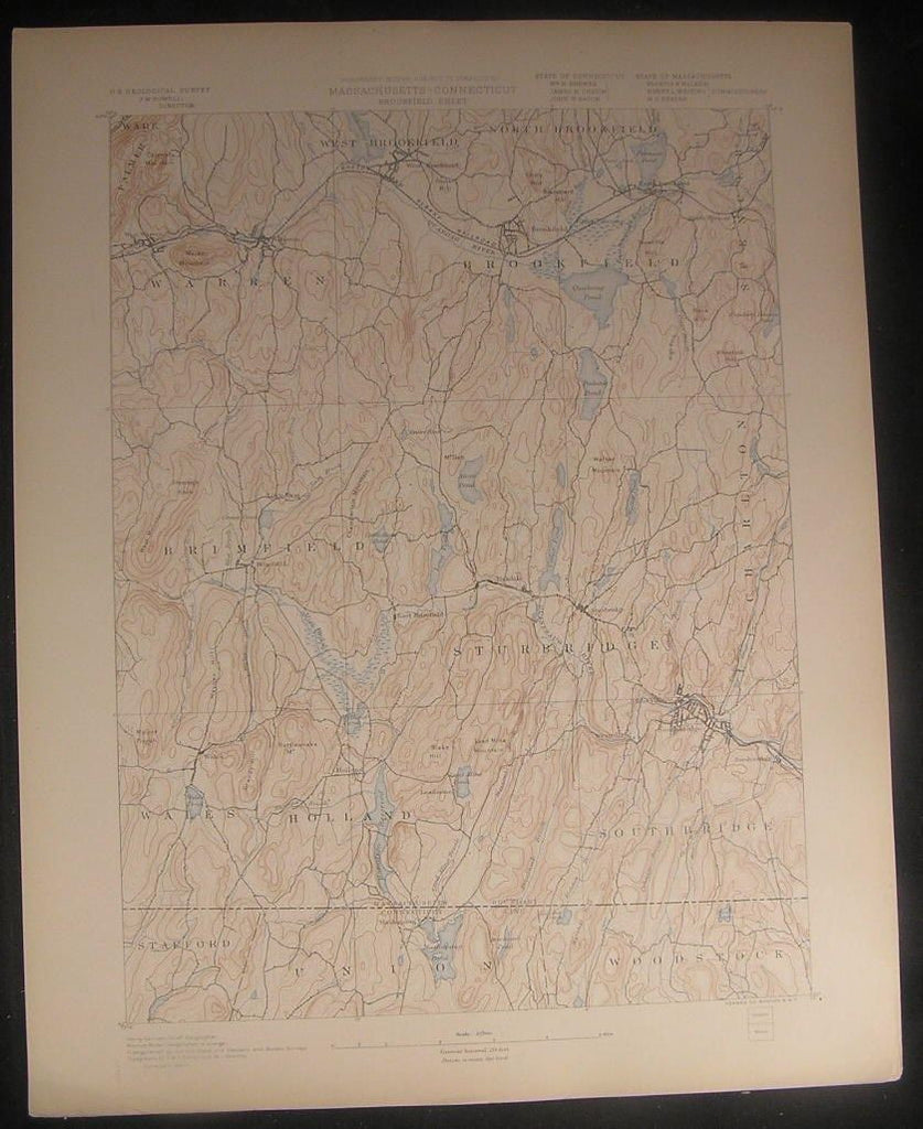Brookfield Brimfield Strubridge Massachusetts c.1898 U.S.G. state survey map