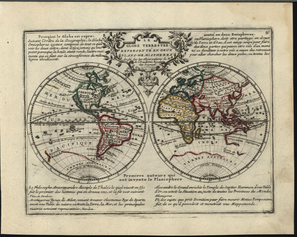 California as island World double hemispheres 1719 Chiquet decorative map