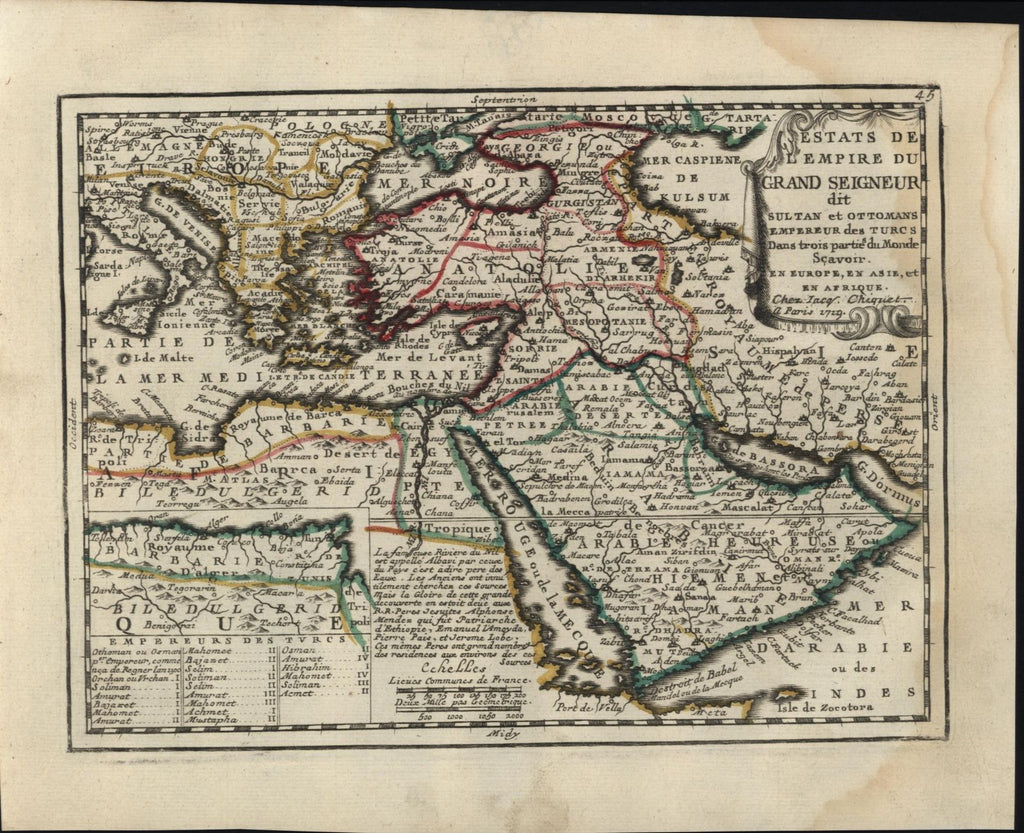 Saudi Arabia Middle East Anatolia Turkey 1719 Chiquet decorative fine old map