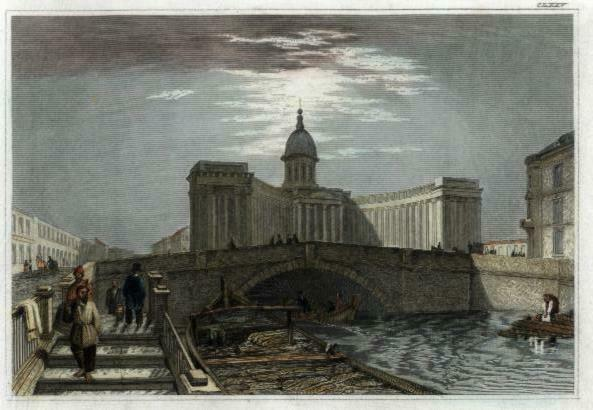 St Petersburg Russia Kazan Cathedral c.1850 city view print lovely hand color