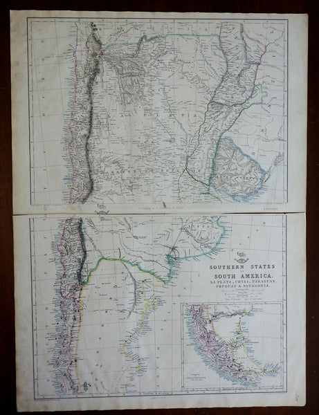 Chile Argentina Uruguay Paraguay Patagonia La Plata 1863 Lowry two sheet map
