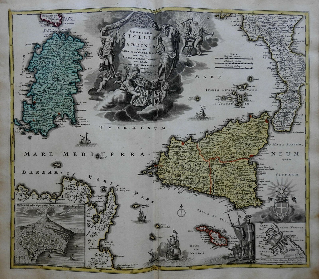 Kingdom of Sicily & Sardinia Mt Etna Malta Sicilia c. 1750 Homann map