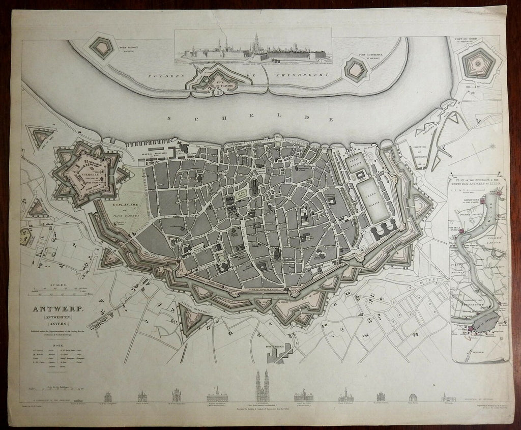 Antwerp Belgium Anvers detailed city plan architectural views c 1840 SDUK map