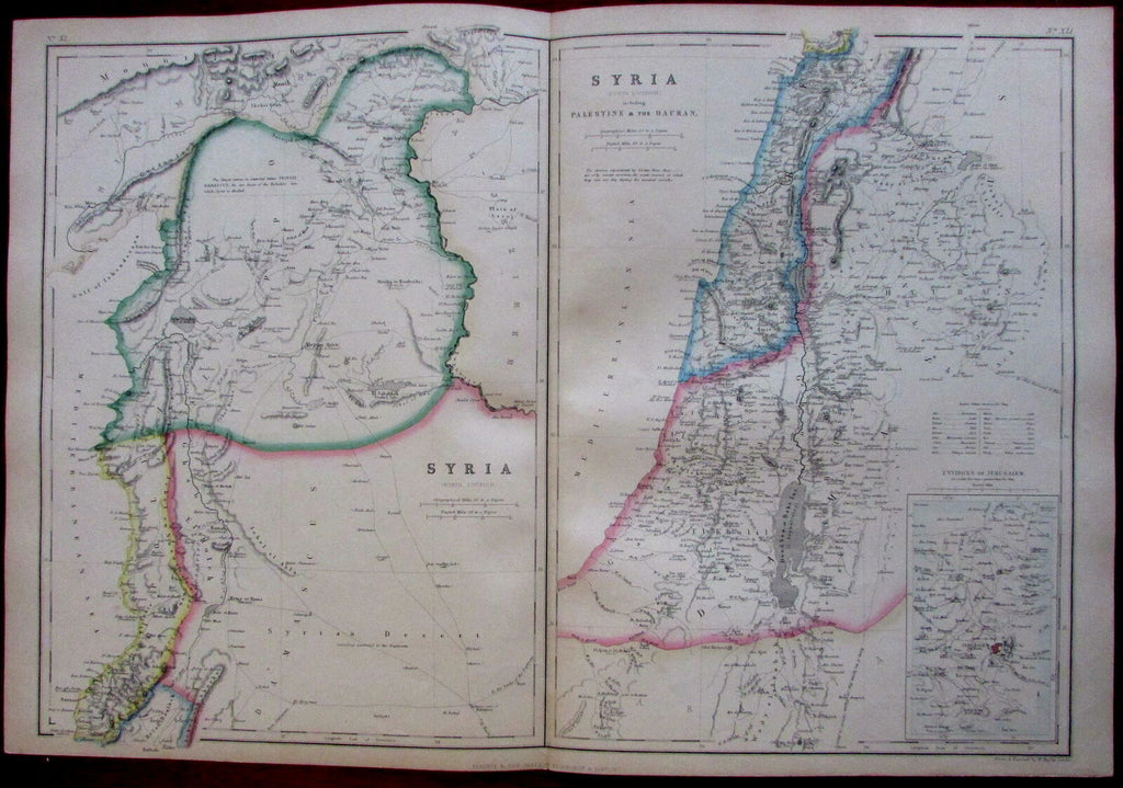 Syria Palestine Holy Land Jerusalem 1860's Hughes fine old vintage antique map