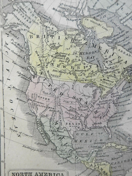 North America United States Canada Texas Republic c. 1855 Boynton miniature map