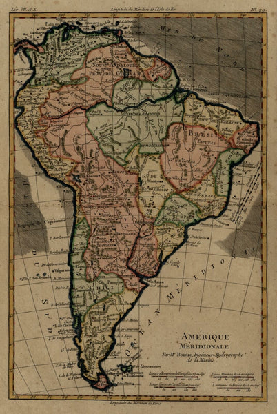 South American Continent 1780'S Bonne attractive engraved map hand color