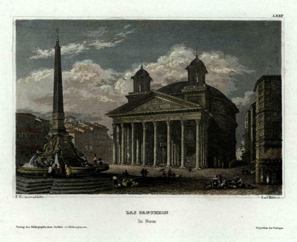 The Pantheon Rome Obelisk Roma c. 1850 Meyer engraved view beautiful hand color