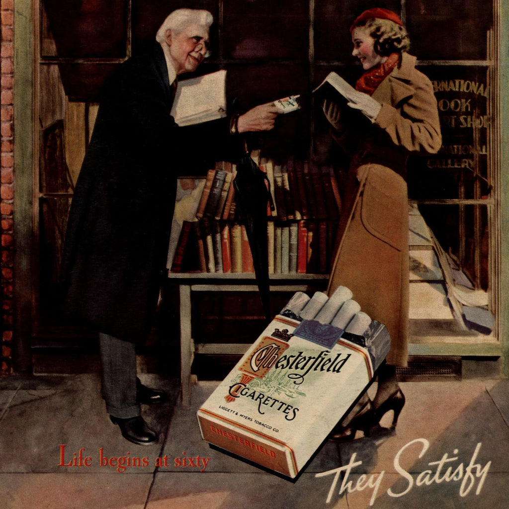 Chesterfield 1935 Liggett & Meyers Bookshop older man w/ woman old advertisement
