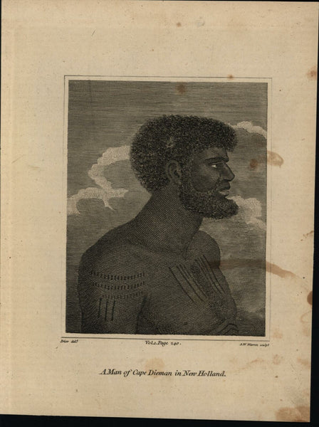Australia ethnic tattooed Man Cape van Dieman New Holland 1807 print native