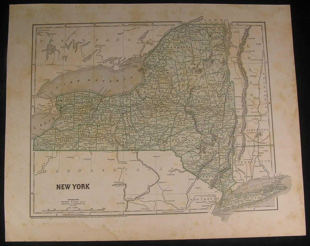 New York scarce 1842 vintage Morse & Breese cerographic color map