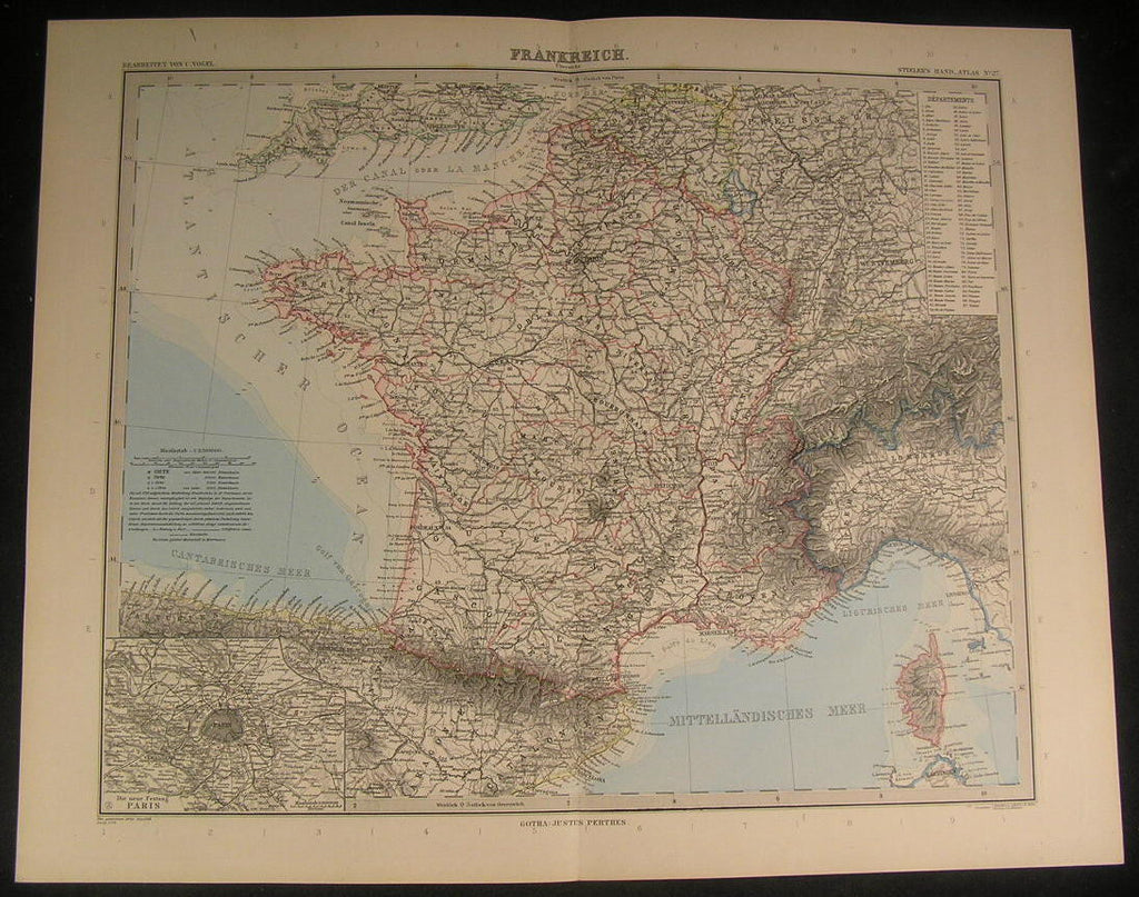 France Corsica Piedmont Orleans Champagne 1888 antique engraved color map