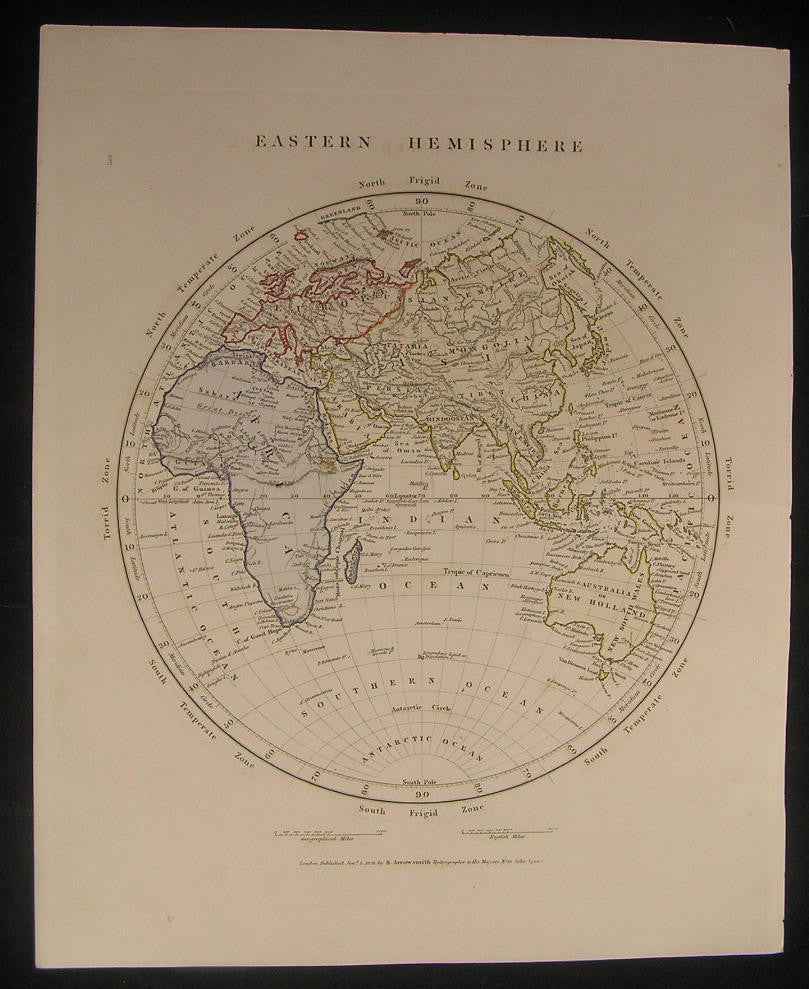 Eastern Hemisphere Africa Mountains of the Moon 1828 antique hand color map
