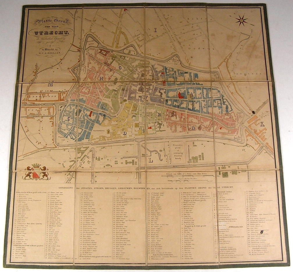 Utrecht Netherlands Bollaan & der Monde c.1850 Linen Backed City Plan rare map