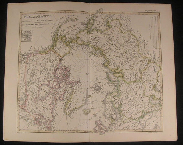 North Pole Siberia Iceland Bering Strait 1857 antique engraved hand color map