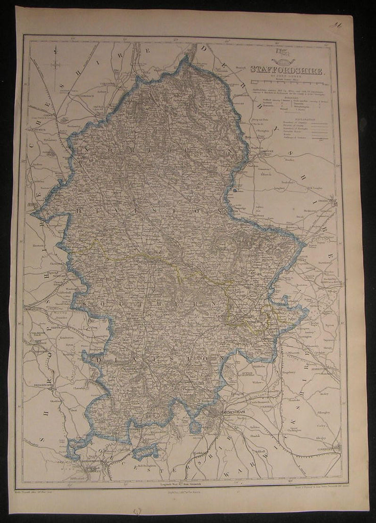 Staffordshire county England c.1863 large old vintage detailed Dower map