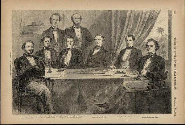 Jefferson Davis & Confederate Cabinet Portrait  1866 great old print for display