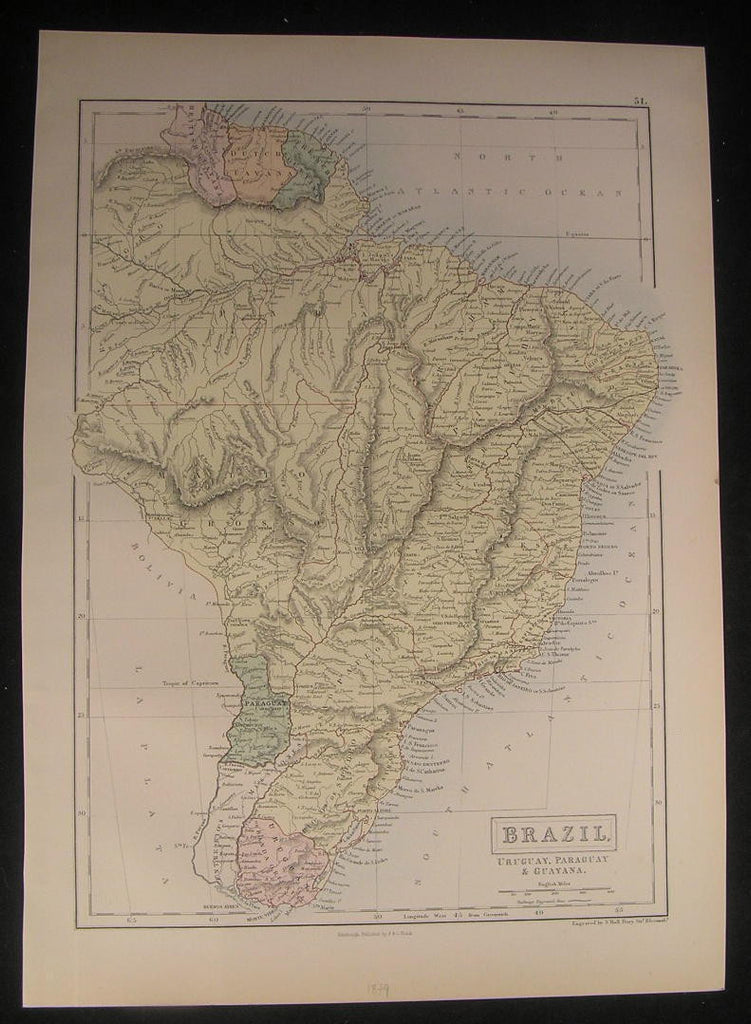 Brazil South America Uruguay Amazon Guyana 1879 old vintage antique color map