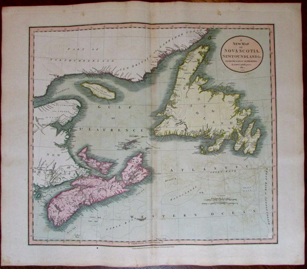 Nova Scotia Newfoundland Gulf St Laurence 1811 John Cary lovely large old map