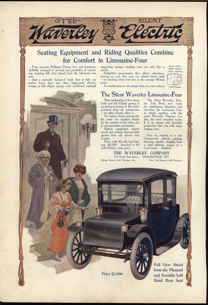 Waverly Electric car 1913 Wealthy Family Automobile Sophistication Limousine