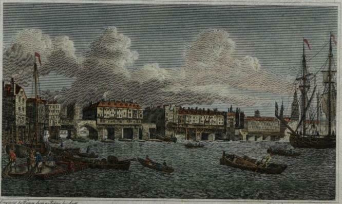 London Bridge England Thames c.1800 engraved city view print lovely hand color