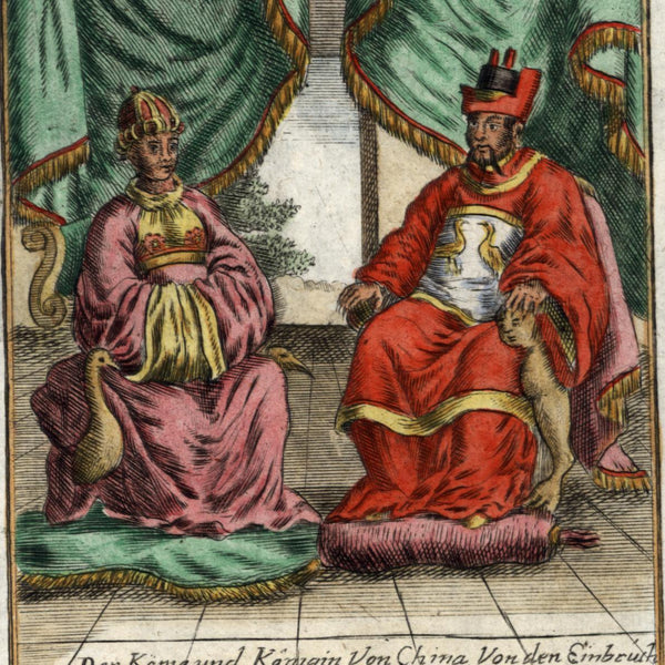 China King Queen seated Court throne 1719 old Mallet Ethnic costume hand color
