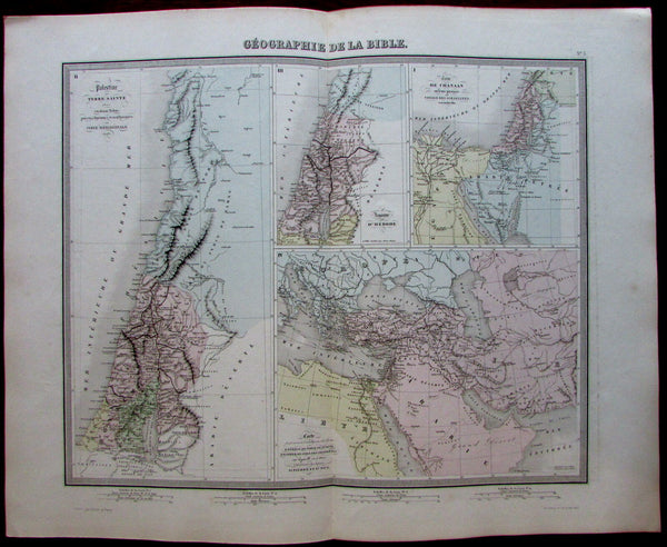 Holy Land Biblical Geography Herod St. Paul 1858 Tardieu Furne historical map