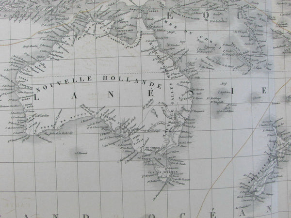 Oceania Australia New Holland 1827 Brue fine large folio old map Tooley #251