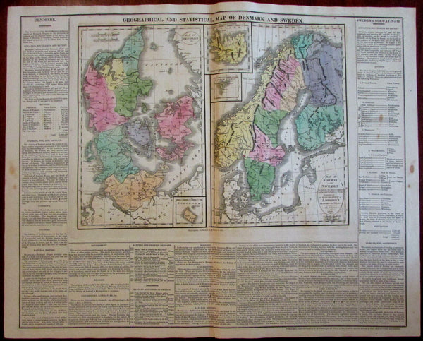 Denmark Sweden Iceland Faroe Isles Scandinavia 1820-21 Carey large engraved map