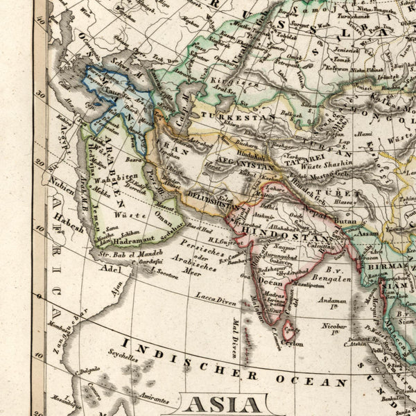 Asia Arabia India China Russia old map 1834 Stieler scarce small hand colored