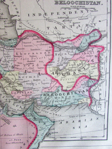 Arabia Turkey in Asia Persia Afghanistan 1887 Mitchell Bradley large old map